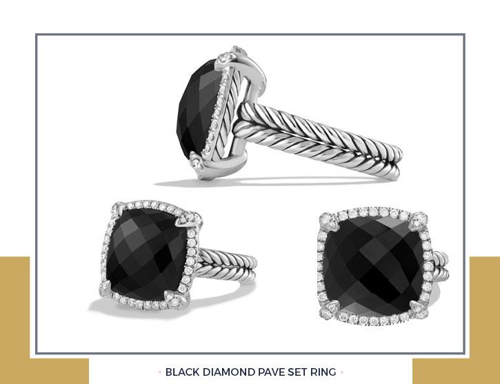 Black Diamond Pave Set Ring