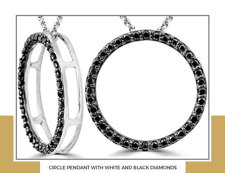 Black Diamonds Circle Pendant