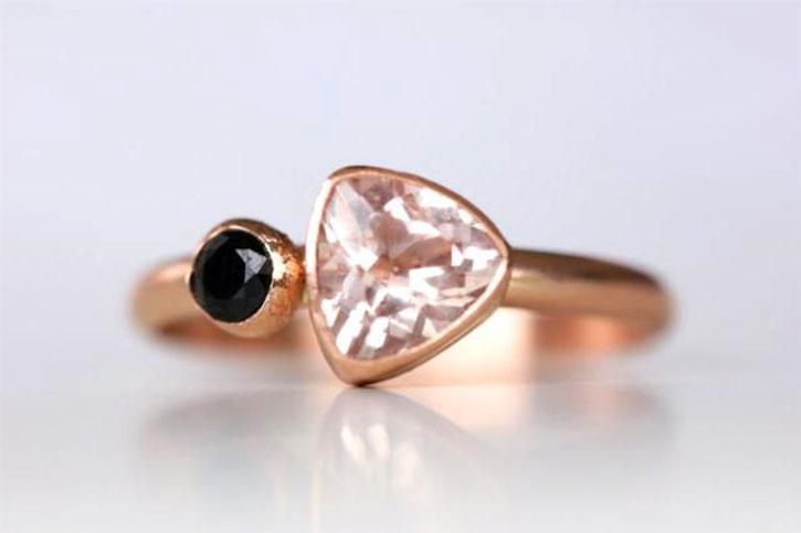 Black Spinel Morganite Ring