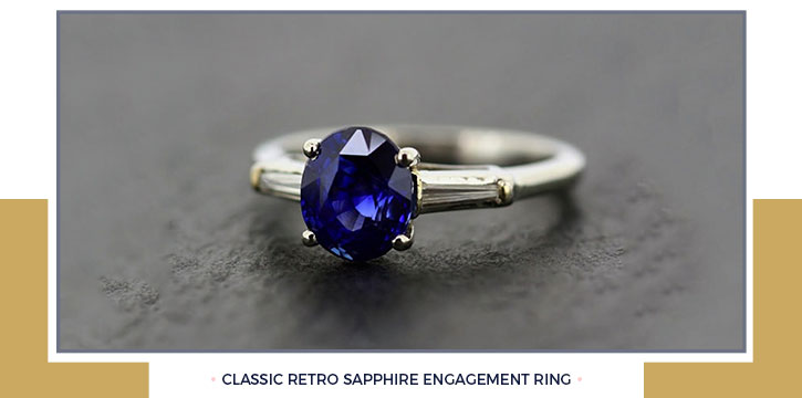 Classic Retro Sapphire Engagement Ring