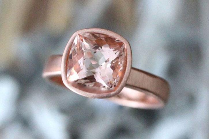 Cushion Cut Solitaire Morganite Ring