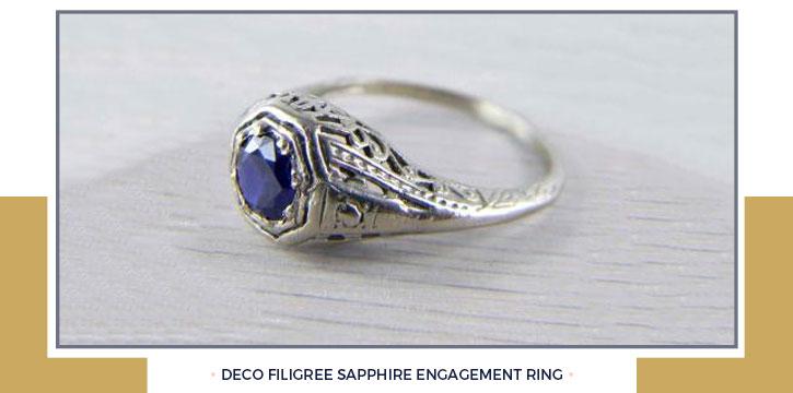 Deco Filigree Sapphire Engagement Ring