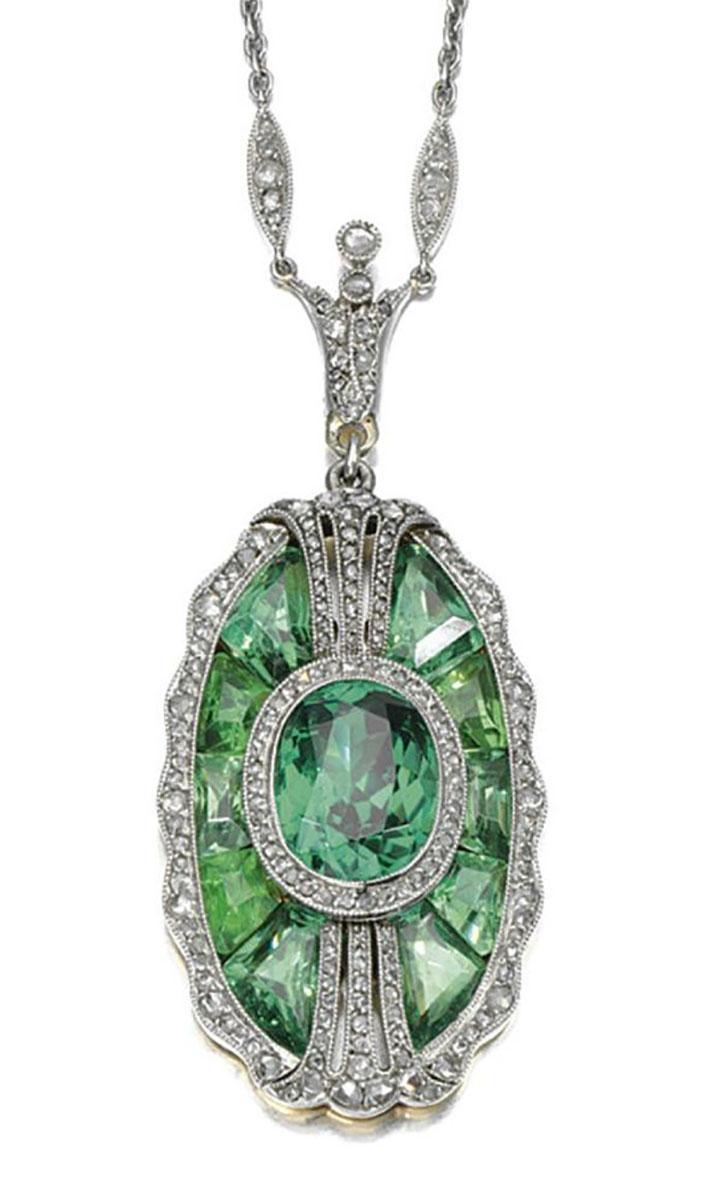 Edwardian Demantoid Garnet Diamond Pendant