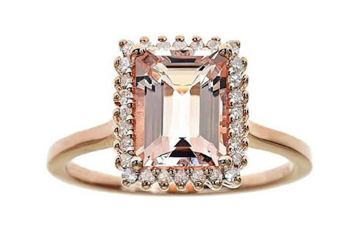 Emerald Cut Halo Morganite Ring