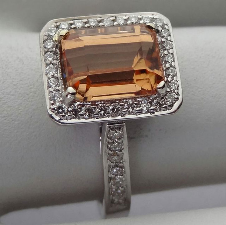 Emerald Cut Peach Topaz Ring