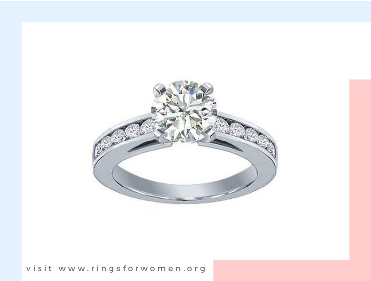 Engagement Ring with Channel Set Diamonds on the Band