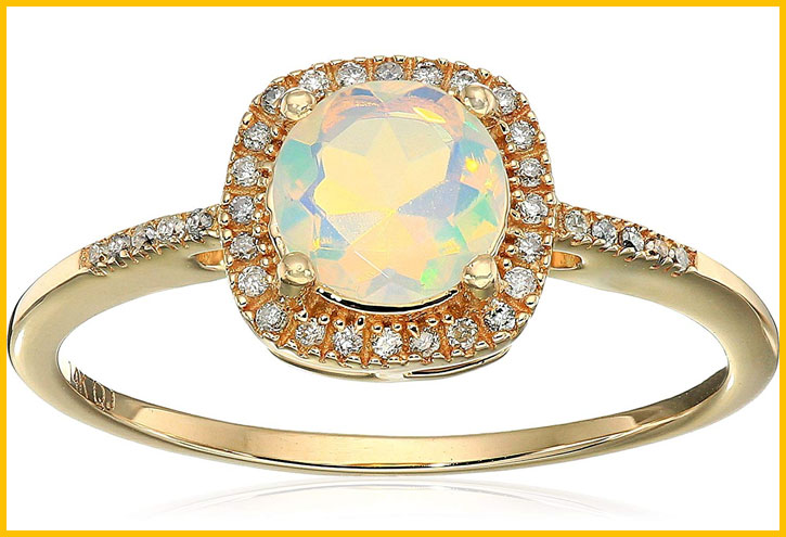 Ethiopian Opal White Diamond Ring