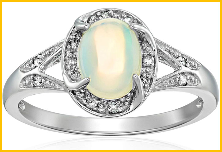 Ethiopian Opal Diamond Engagement Ring