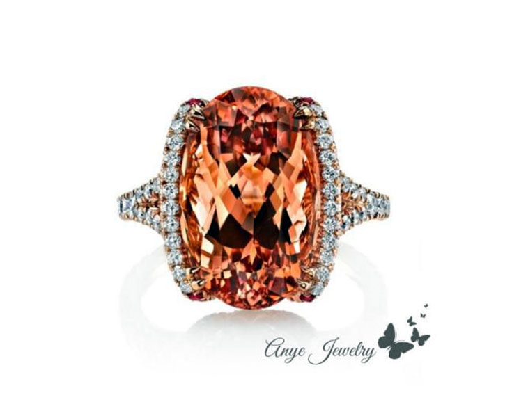 Fiery Topaz and Diamond Halo Ring
