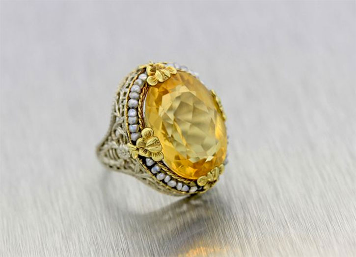 Filigree Golden Topaz Ring