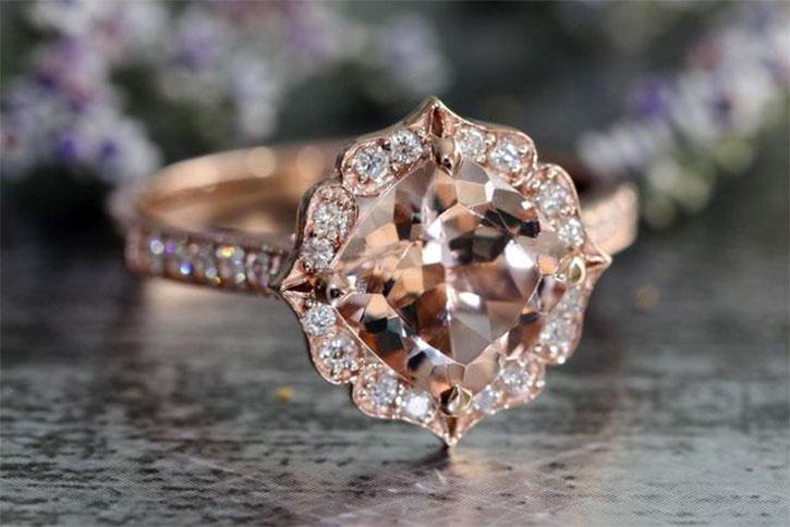 Floral Halo Diamond Morganite Ring
