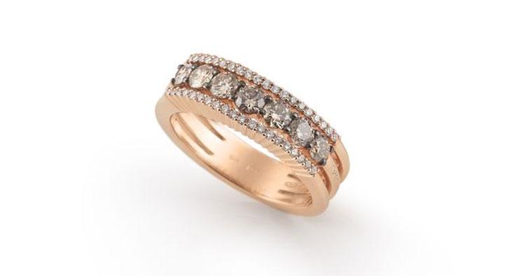 Garavell champagne white diamond rose gold wedding band
