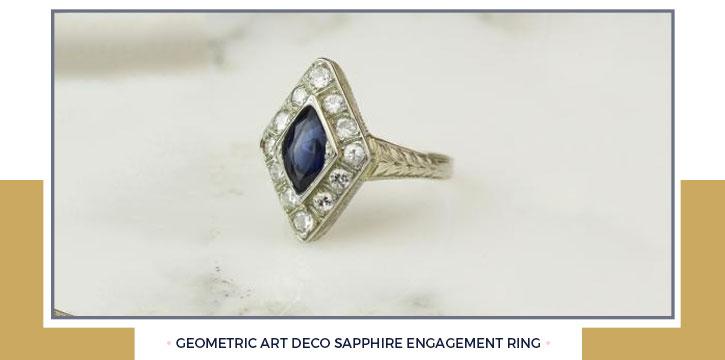 Geometric Art Deco Sapphire Engagement Ring