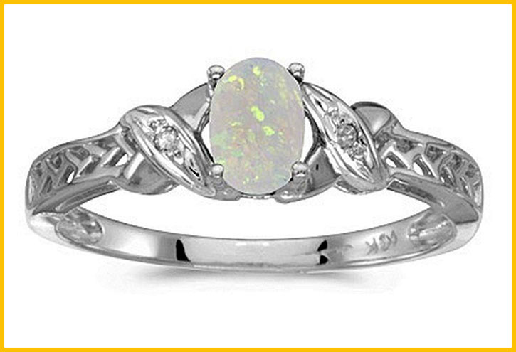 Gold Opal and Diamond Ring