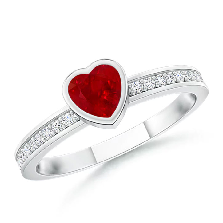 Heart-Shaped Ruby and Diamond Ring