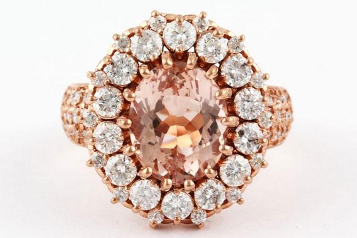 Large Diamond Halo Morganite Ring