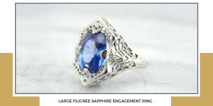 Large Filigree Sapphire Engagement Ring