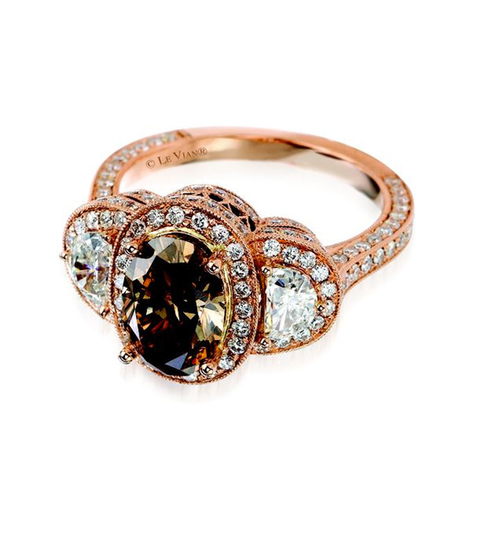 Chocolate and white diamond engagement ring