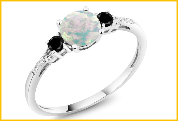 Opal with Black Diamond Engagement Ring