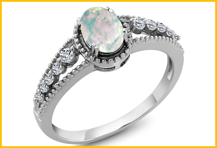 Opal with White Topaz Sterling Silver Ring