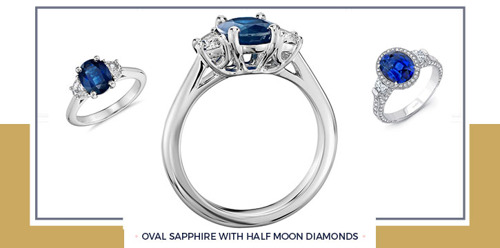 Oval Sapphire with Half Moon Diamonds