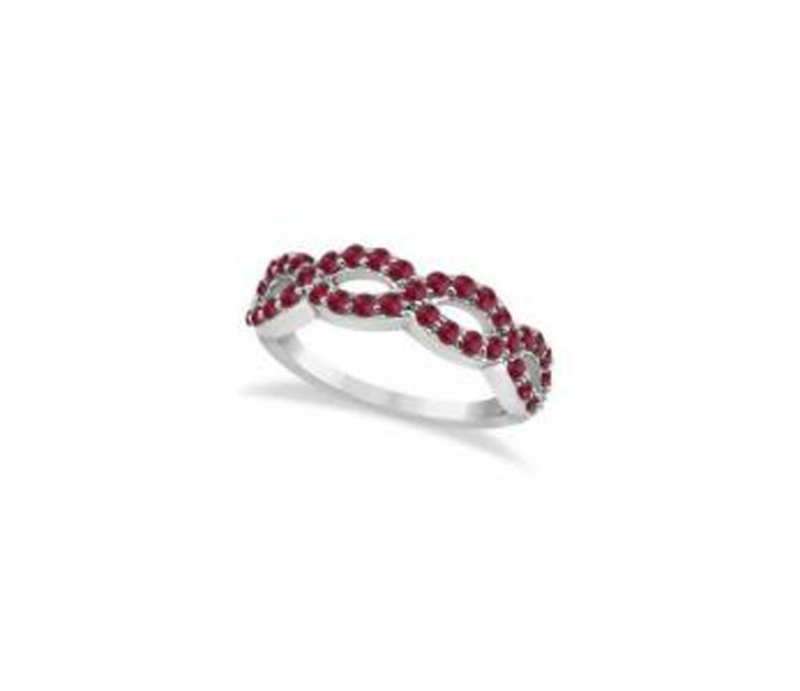Pave Set Twisted Infinity Ruby Ring Band