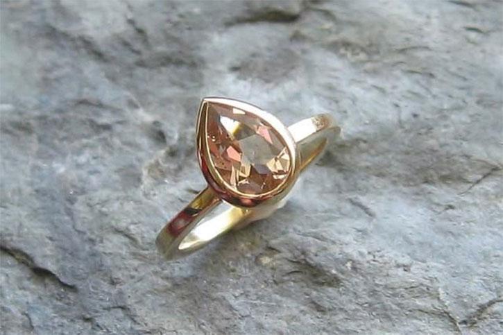 Pearl Shaped Solitaire Morganite Ring