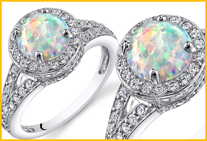 Peora Opal Halo Ring Sterling Silver