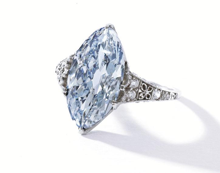 Platinum Fancy Blue Diamond Ring