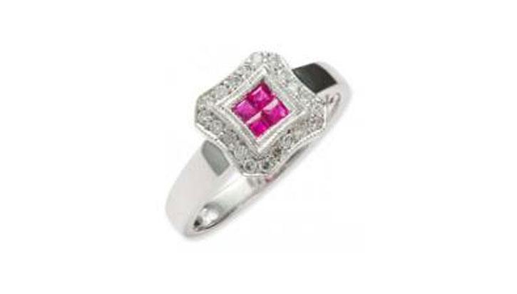 Pressure Set Square Ruby Ring