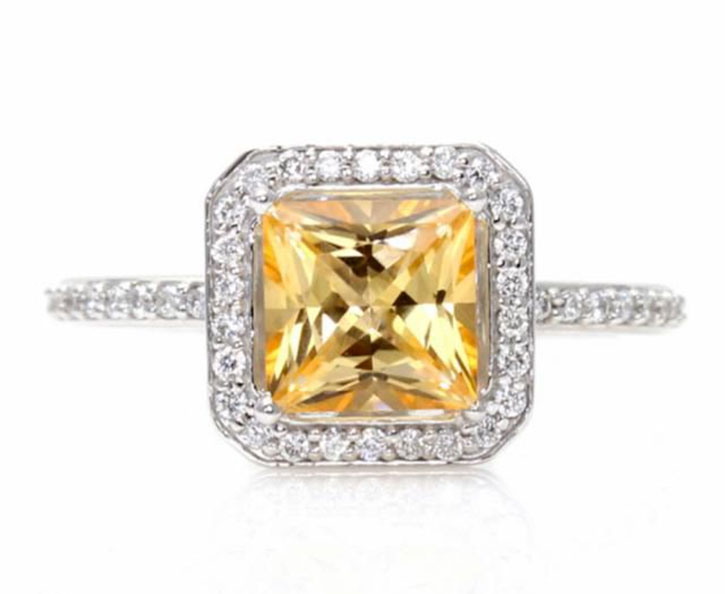 Princess Halo Honey Topaz Ring