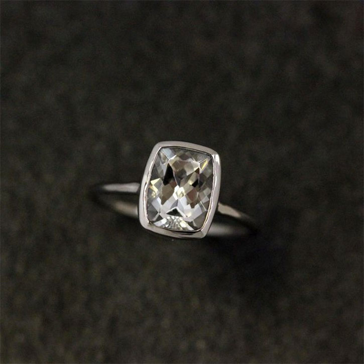 Recycled Palladium White Topaz Ring