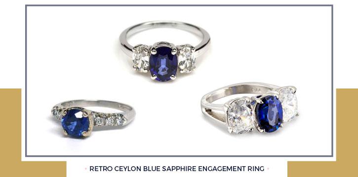 Retro Ceylon Blue Sapphire Engagement Ring