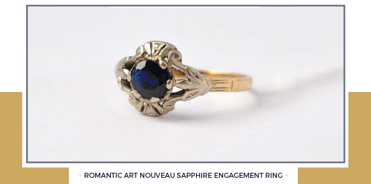 Romantic Art Nouveau Sapphire Engagement Ring