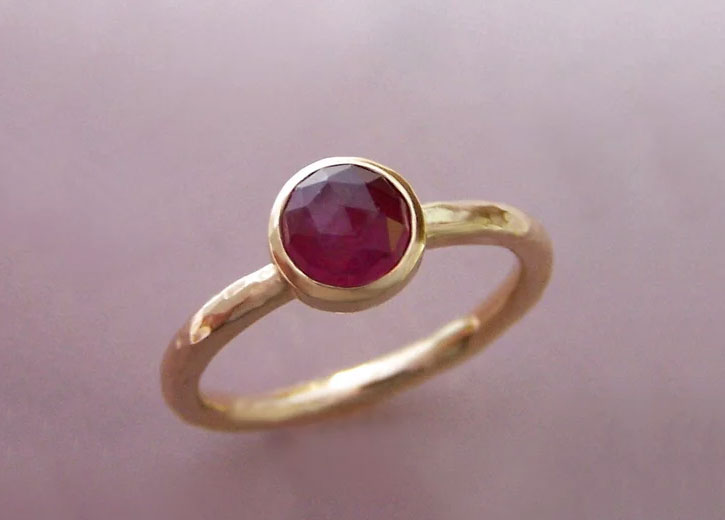 Rose Cut Round Ruby Ring