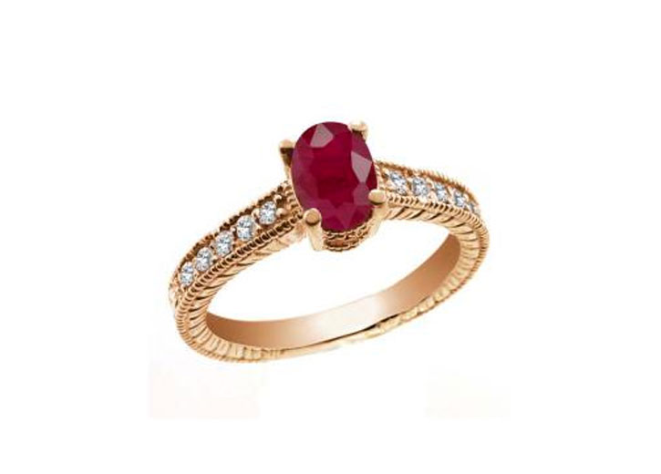 Rose Gold Oval Ruby Ring