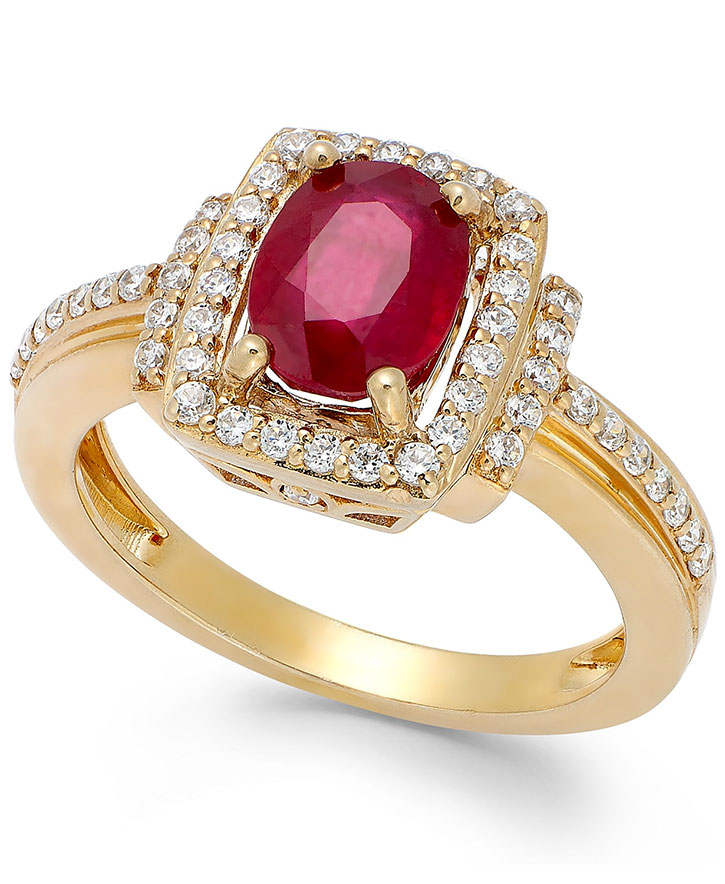 Rose Gold Pavee Set Ruby Ring
