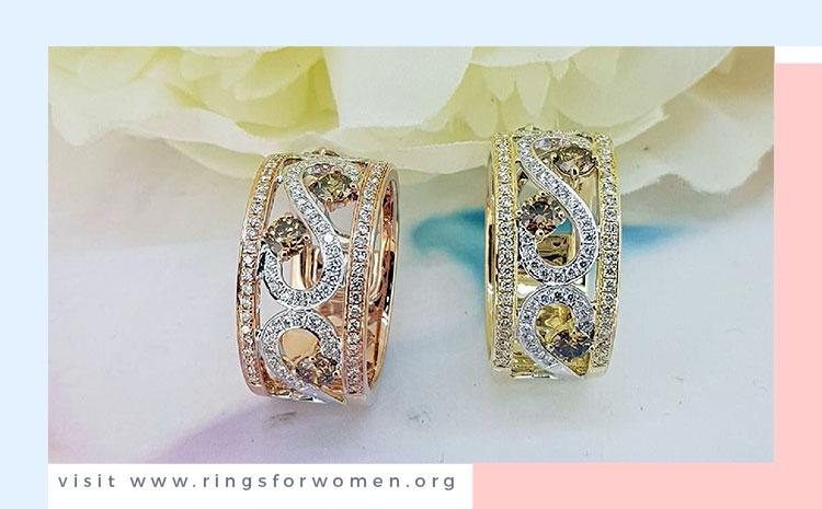Rose or Yellow Chocolate Diamond Rings