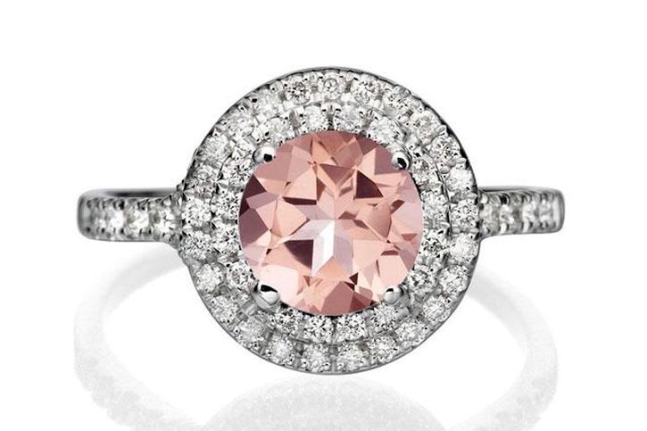 Round Halo Morganite Engagement Ring