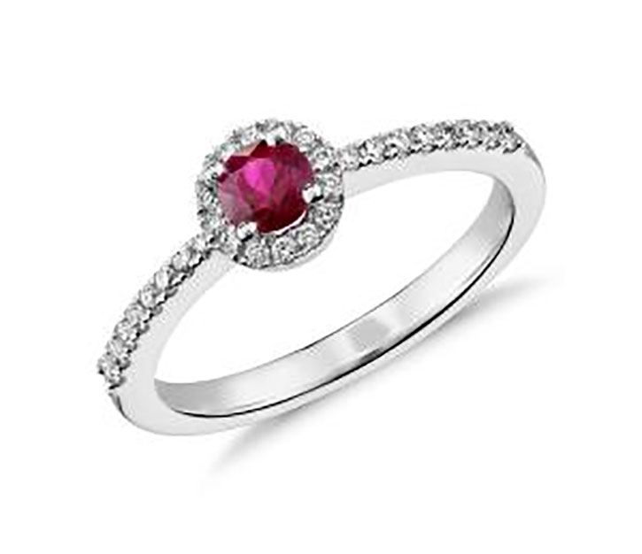 Round Ruby Ring with Diamond Halo