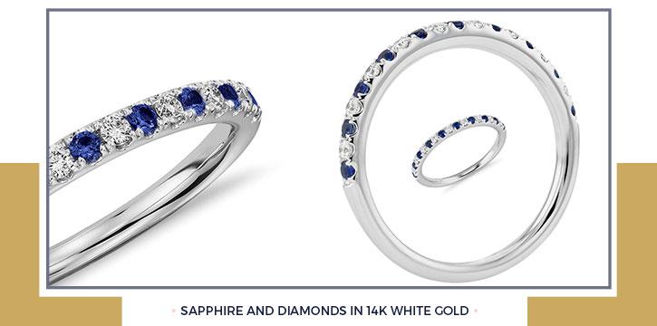 Sapphire and Diamonds in 14K White Gold