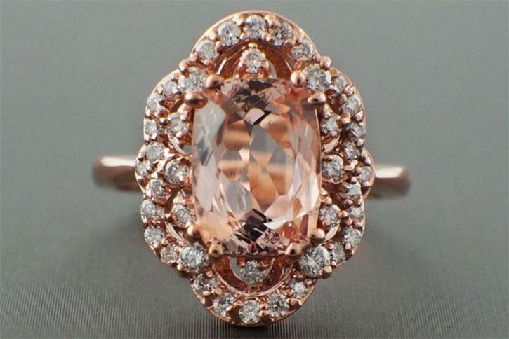Scalloped Halo Morganite Ring
