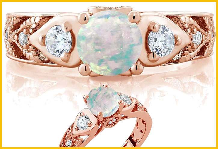 Simulated Opal Engagement Ring