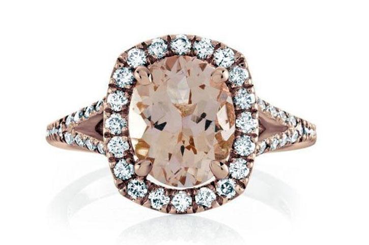 Diamond and Morganite Ring