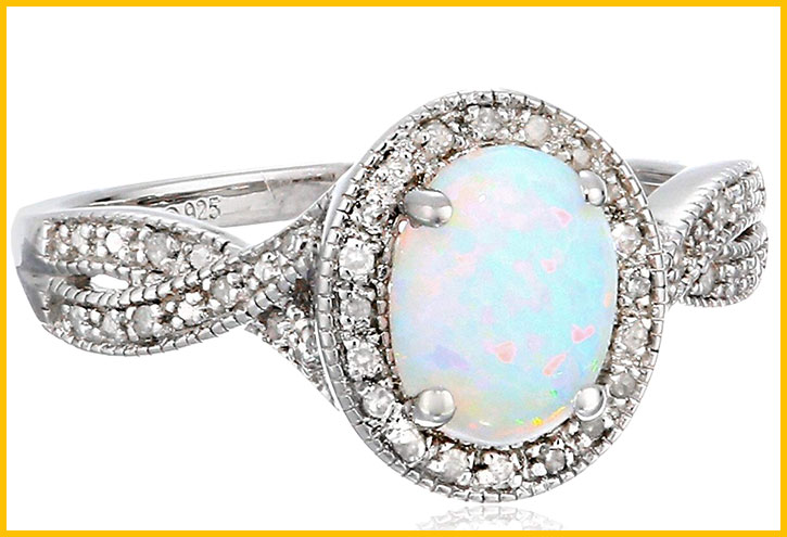 Sterling Silver with Opal and Diamond