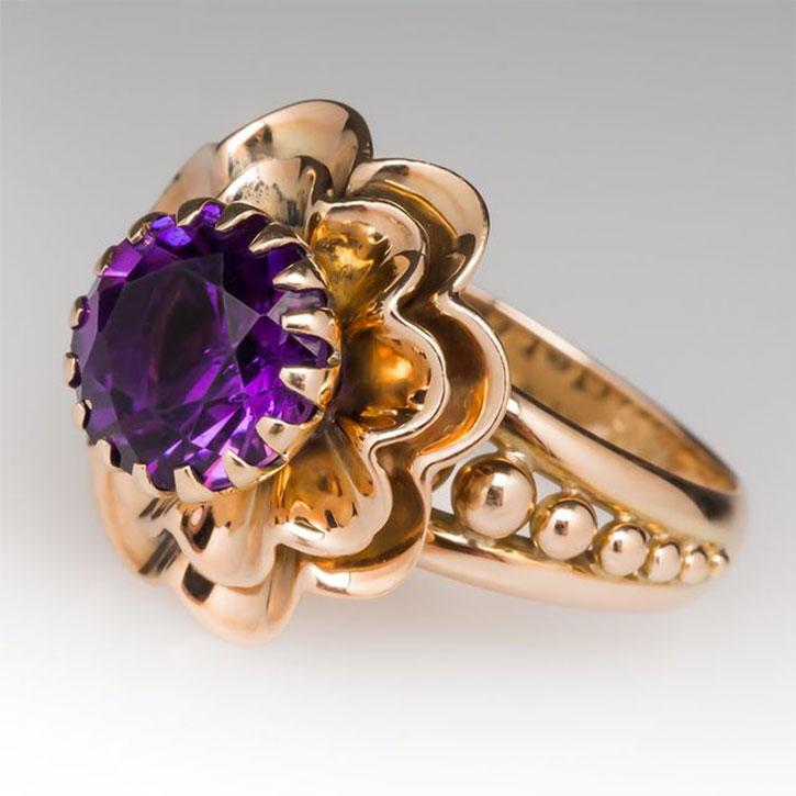 Vintage Amethyst Flower Ring