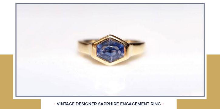 Vintage Designer Sapphire Engagement Ring