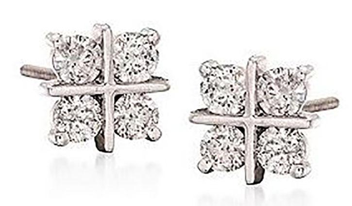 X Shaped Diamond Stud Earrings