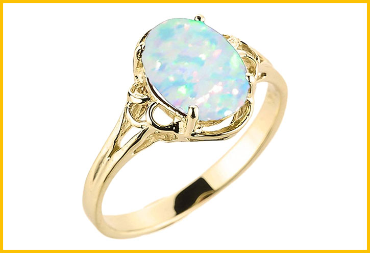 Yellow Gold Opal Solitaire Ring