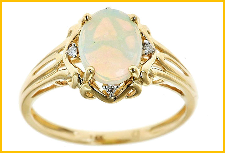 Yellow Gold Oval-Cut Opal and Diamond Ring
